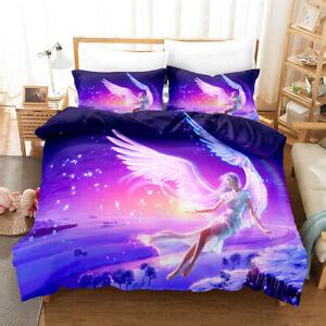 Purple Dream Angel Duvet Comforter Cover Twin Girls Bedding Set PillowCase