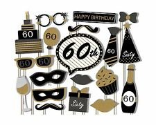 60th Birthday Party Black and Gold Photo Booth Props Kit - 20 P... Free Shipping