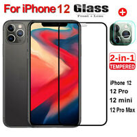 For iPhone 12 Pro Max Tempered Glass Screen Protecter + Rear Camera Lens Cover