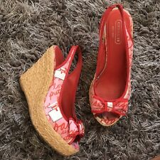 Coach Wedges size 7,5 red pink Espadrilles