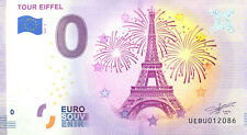 75007 Tour Eiffel 6, Feu d'artifice, 2020, Billet Euro Souvenir