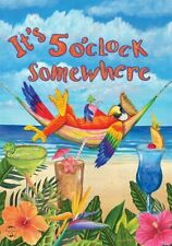 """FM48 IT'S 5 O'CLOCK SOMEWHERE PARROT PARTY DRINKS 12""""x18"""" GARDEN FLAG BANNER"""