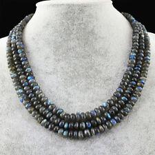 Genuine 3 Strands Labradorite necklace with 18 kt (750/1000) gold, length 50 cm