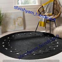 Indian 4' Feet Round Black Color Braided Handmade Jute Floor Rug Yoga Mat Carpet