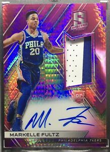 2017 Panini Spectra Markelle Fultz #102 Pink Hyper Rookie Auto Patch #12/25 6ers