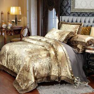 Floral Jacquard Doona Duvet Quilt Cover Set Queen King Size Bedding Pillow Case