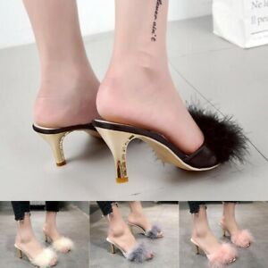 Summer Shoes Woman Feather Thin High Heels Fur Slipper Peep Toe Mules Big Size