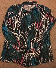 Wrangler Western Animal Print Black Rhinestone Button Shirt Sequin Accent Size M