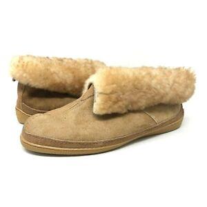 Minnetonka Ankle Boot Slipper Moccasins Sheepskin Fur Trim Beige Womens Size 9