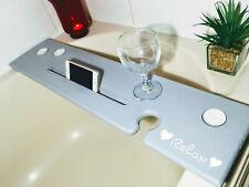 Love Island style 'relax' handmade bathboard In Grey With iPhone / iPad slot