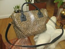 Tory Burch Leopard Leather Satchel Tote Hand Bag