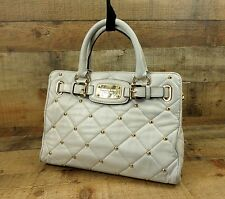Michael Kors Soft Leather Handbag Purse Satchel Tote Quilted Studded White Gold