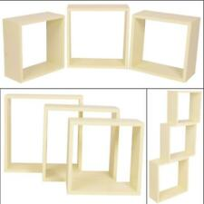 Wooden Floating Wall Cube Shelves Set of 3 Hanging Storage Unit Display Shelving