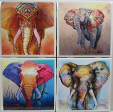 Set of 4-Handmade Natural Stone Ceramic Tile Marble Drink Coaster- Elephants 5 F