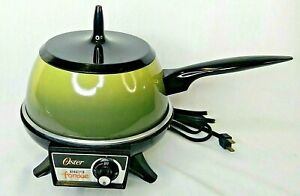 ✨ Vintage Oster Electric Fondue Pot Set Avocado Green 2 Qt Hot Dip Pan 1974 USA