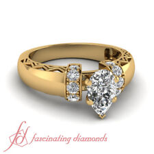 1.25 Carat Yellow Gold Diamond Engagement Rings Pave Set With Pear Shaped Center