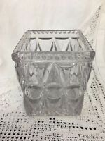 "Glass Vase, Square Geometric Design 4.5"" Square & 5.25"" High"