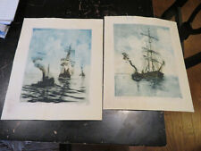 New ListingJosef Pierre Nuyttens, Colored Etchings of Ships 2 pieces, ca: 1941, signed