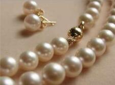 Charming 8MM White Akoya Shell Pearl Necklace + Earring AAA 18""