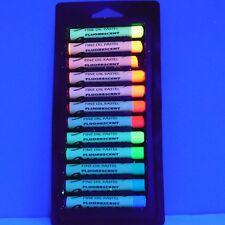 Fluorescent Oil Pastel Crayons Set of 12 Neon Colors, Black Light Oil Pastels