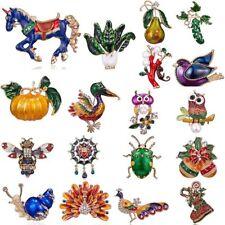 Horse Halloween Pumpkin Christmas Animal Crystal Brooch Pin Women Jewelry