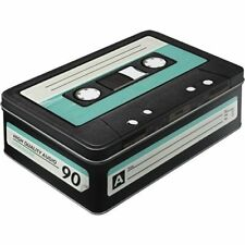 RETRO CASSETTE RECTANGULAR Storage TIN Cookie BISCUITS Box Nostalgic Art