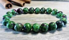 Natural 6mm Gorgeous Ruby Zoisite Healing Crystal Stretch Beaded Bracelet Unisex