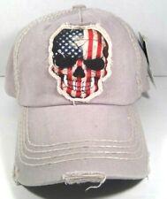 KBETHOS Adjustable Red White Blue Skull Head Distressed Cap Grey Hat NWT