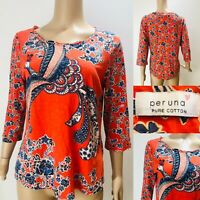 Womens PER UNA Pure Cotton Top Bright Orange Size 12 Peacock & Floral 3/4 Sleeve