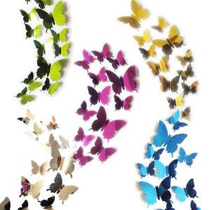 12 x 3D Buttefflies Mirrored Stick On Wall Art Decal Fun Decoration 5 Colours