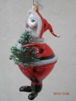 "DAVID STRAND ""Jolly Old Elf"" SANTA Silver-Lined Blown Glass 6"" Ornament FREESHIP"