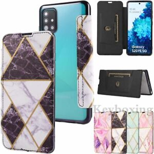 For Samsung S21 Plus S20 S10 S9 S8 Note 20 Marble Leather Wallet Flip Case Cover