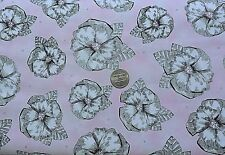 Quilting Treasures 100% Cotton - Black and White Hibiscus on Pink - By The Yard
