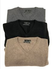 Mens 100% Pure Cashmere V Neck Jumper 3 Colours Pullover Soft Sizes S to XXL