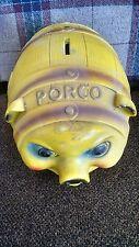 Vintage Yellow Porco pig bank silvestri 1966