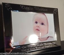 Personalised Silver Plated 6 x 4 Photo frame - Teddy motifs Godparent Gifts