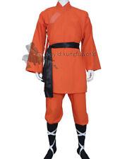 Orange Shaolin Monk Kung fu Suit Tai chi Uniform Martial arts Robe Cotton