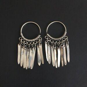 Retro tradition tribal Personality hand miao silver tassels joker earring 1pair