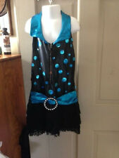 Girls 12 - 14 Black n Teal Fringe Skirt Gymnastic Dance Unitard Sparkly!