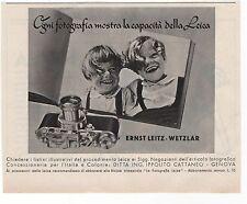 Pubblicità vintage 1938 LEICA FOTO PHOTO LEITZ WETZLAR advert werbung publicitè