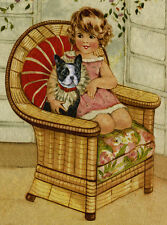 FRENCH BULLDOG DOG GREETINGS NOTE CARD CUTE LITTLE GIRL AND DOG SIT IN BIG CHAIR