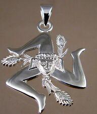 Sicilian Trinacria pendant Jewelry Solid.925 sterling silver 28mm