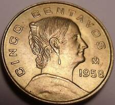 Mexico Unc 1958-MO 5 Centavos~Minted In Mexico City~We Have Mexican Coins~Fr/Shi