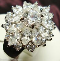Marquise cut CZ Cubic Zirconia CLUSTER Cocktail Engagement Wedding Ring 5678910