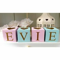 Pink, mint & gold personalised name letter baby christening wooden blocks gift