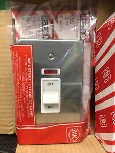 MK ALBANY PLUS MATT CHROME 1 GANG 45A DP SWITCH NEON K5236 MCO ELECTRICAL NEW