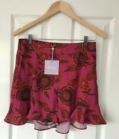 MISSGUIDED HOT PINK FLORAL HIGH WAISTED FRILL SHORTS UK 12 NEW