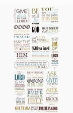 Colored Religious Bible Verse Phrases Faith Scrapbook Stickers 5x12""