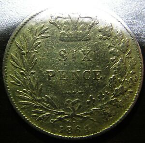 1864 Queen Victoria Silver Sixpence 6 Pence Coin 6D Fine DIE Number 7