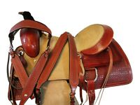 17 16 USED CUTTING ROPING SADDLE WESTERN HORSE ROPER RANCH TOOLED LEATHER SET
